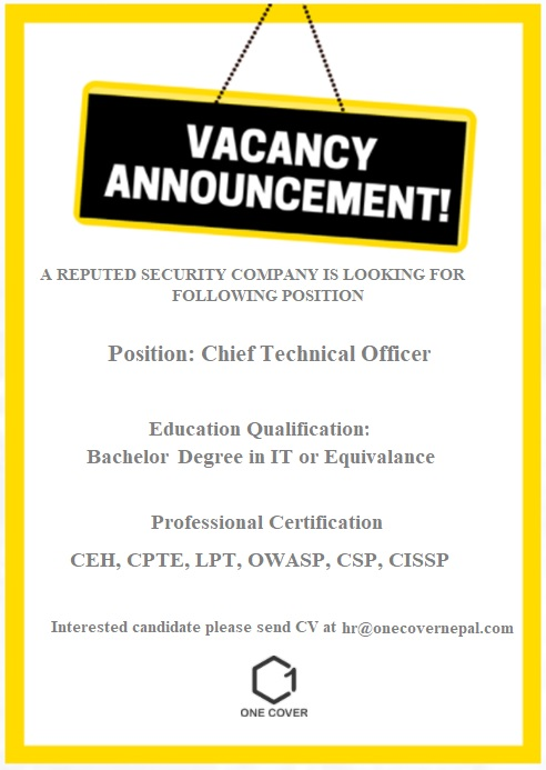 Chief Technical Officer Jobs in Nepal   Cyber Security Job in Nepal   One Cover Nepal